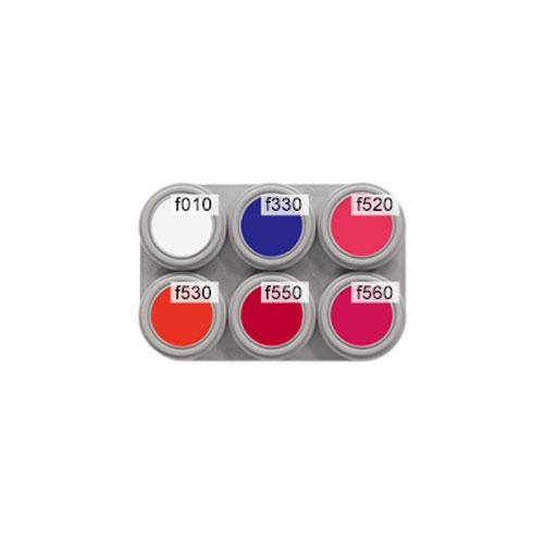 Grimas 6 colour fluorescent water makeup palette