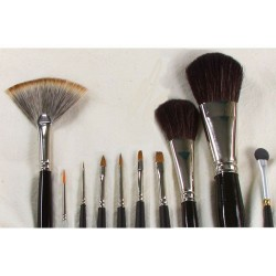 Set of brushes for stage and media makeup