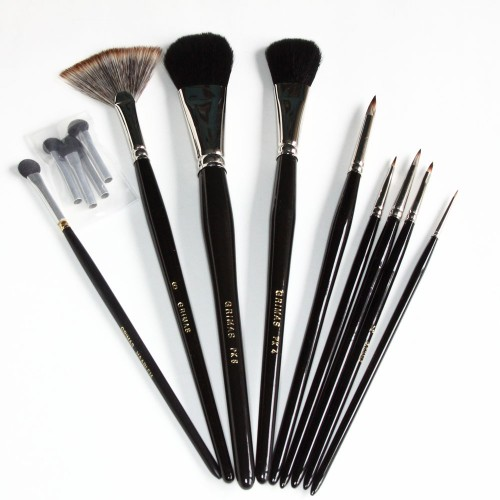 Synthetic bristle brush set with applicators